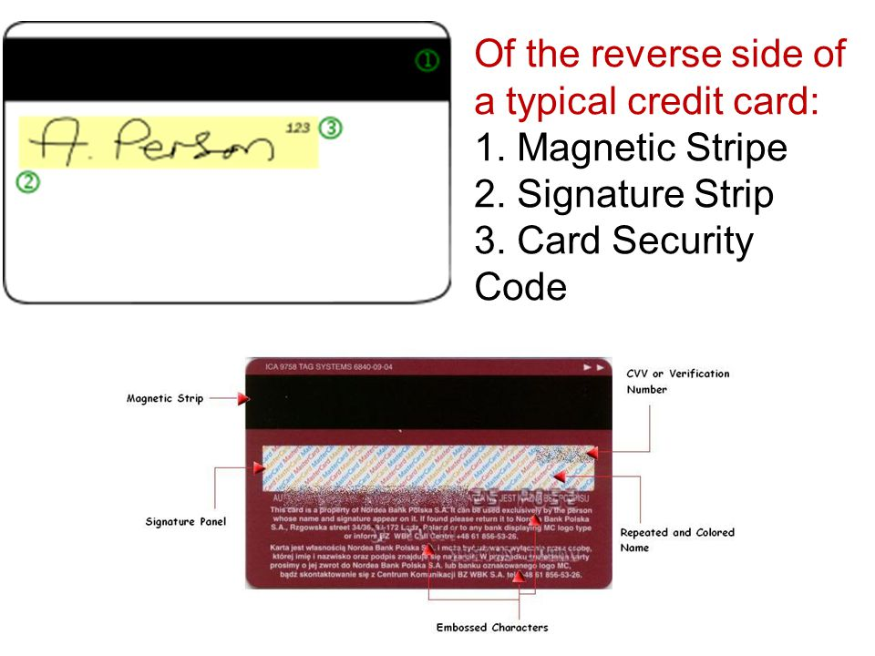 Of the reverse side of a typical credit card: 1. Magnetic Stripe 2.