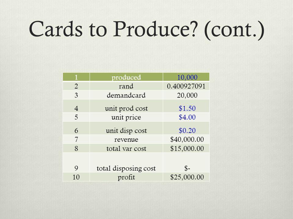 Cards to Produce? (cont.) 1produced 10,000 2rand0.400927091 3demandcard 20,000 4unit prod cost $1.50 5unit price $4.00 6unit disp cost $0.20 7revenue