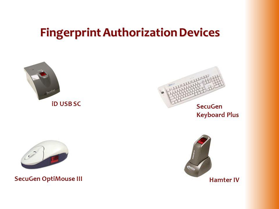 Fingerprint Authorization Devices SecuGen OptiMouse III Hamter IV SecuGen Keyboard Plus iD USB SC