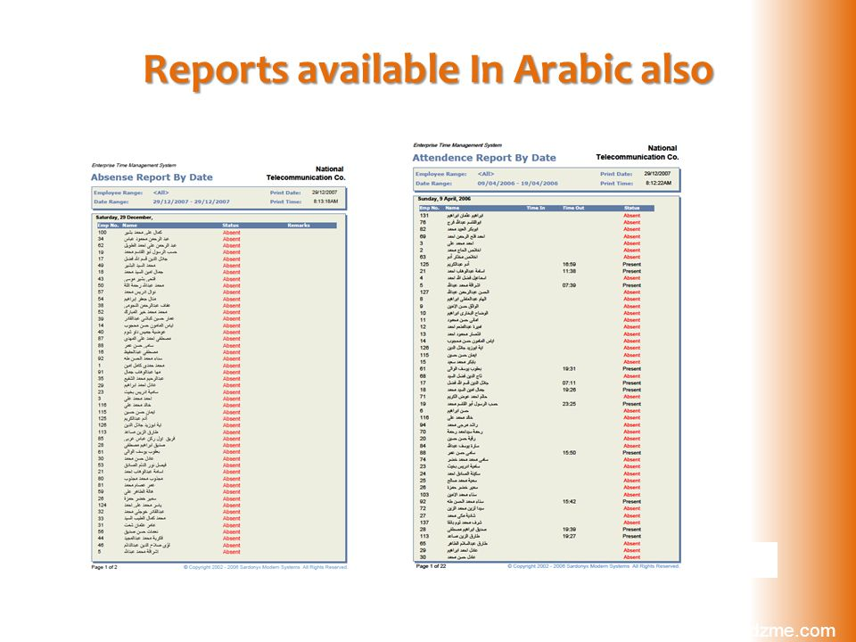 Reports available In Arabic also www.cardzme.com sales@cardzme.com