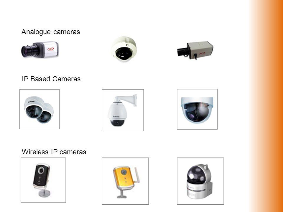 Analogue cameras IP Based Cameras Wireless IP cameras