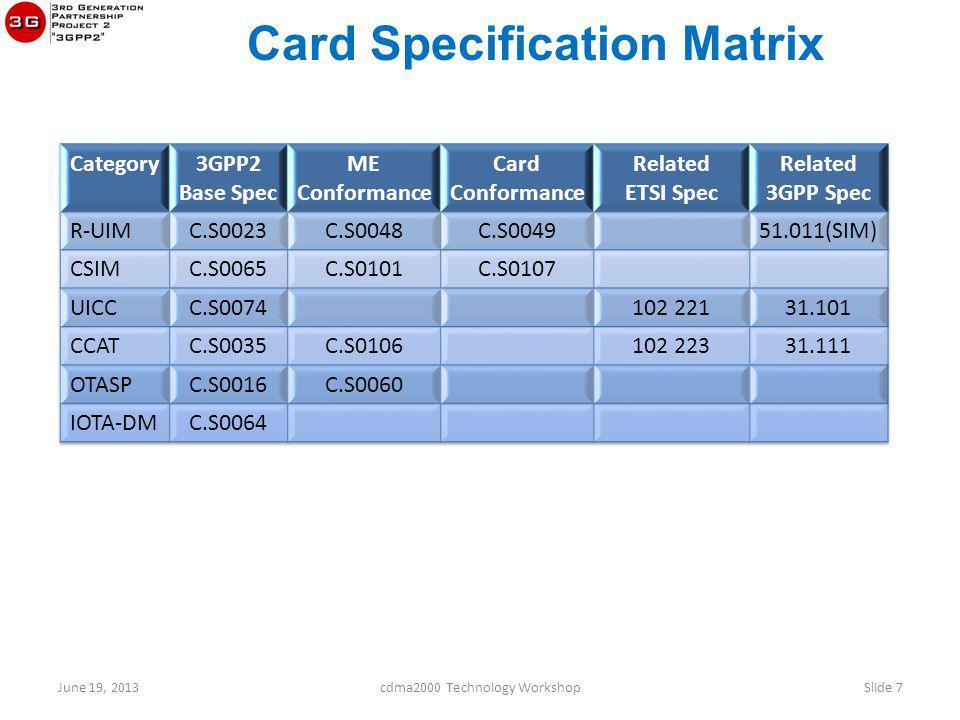Card Specification Matrix June 19, 2013cdma2000 Technology WorkshopSlide 7