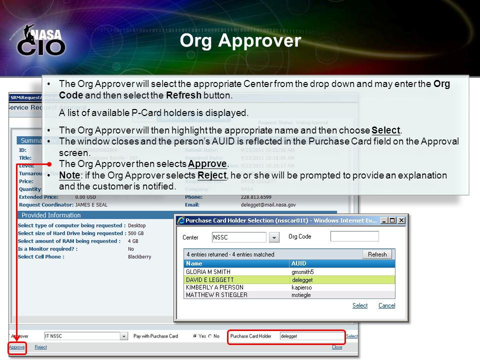 Org Approver The Org Approver will select the appropriate Center from the drop down and may enter the Org Code and then select the Refresh button. A l