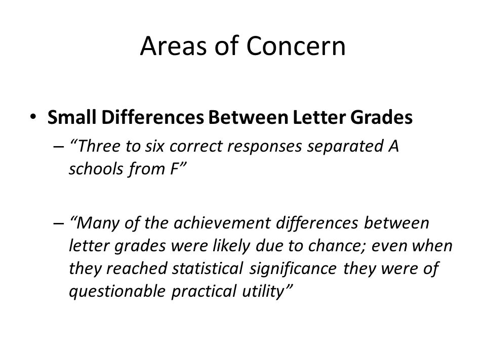Areas of Concern Small Differences Between Letter Grades – Three to six correct responses separated A schools from F – Many of the achievement differences between letter grades were likely due to chance; even when they reached statistical significance they were of questionable practical utility