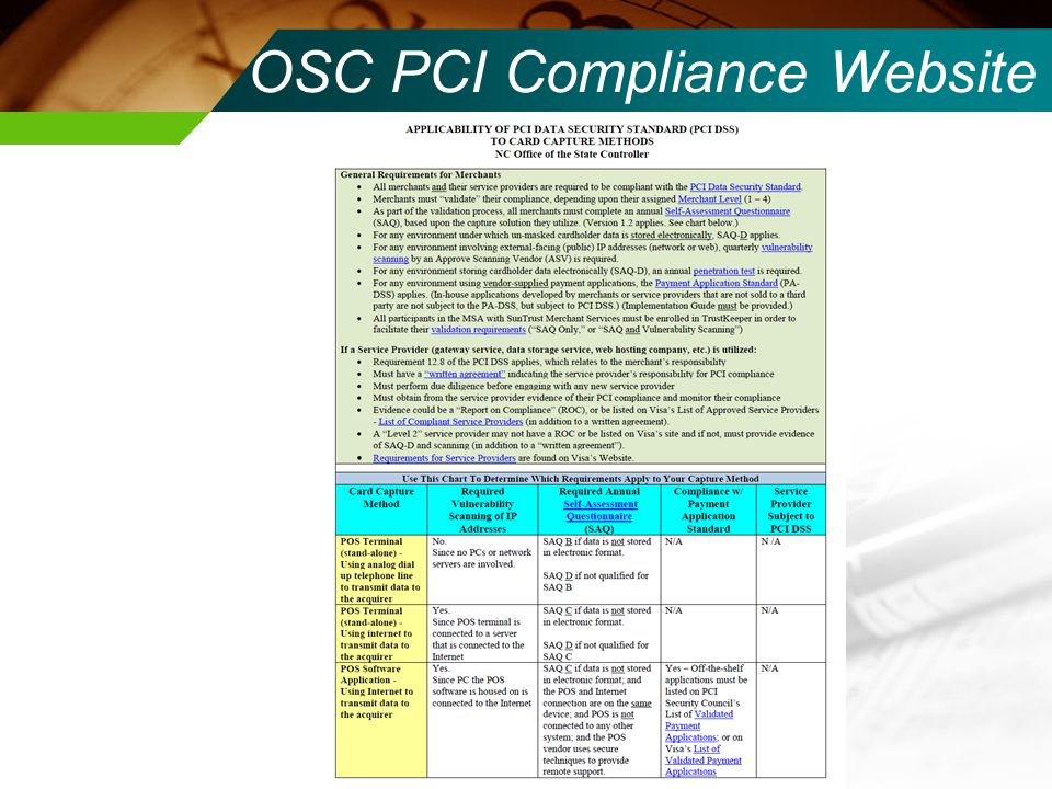 OSC PCI Compliance Website