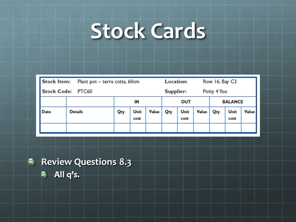 Stock Cards Review Questions 8.3 All qs.