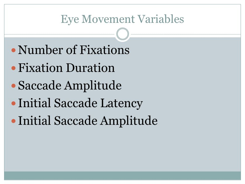 Eye Movement Variables Number of Fixations Fixation Duration Saccade Amplitude Initial Saccade Latency Initial Saccade Amplitude
