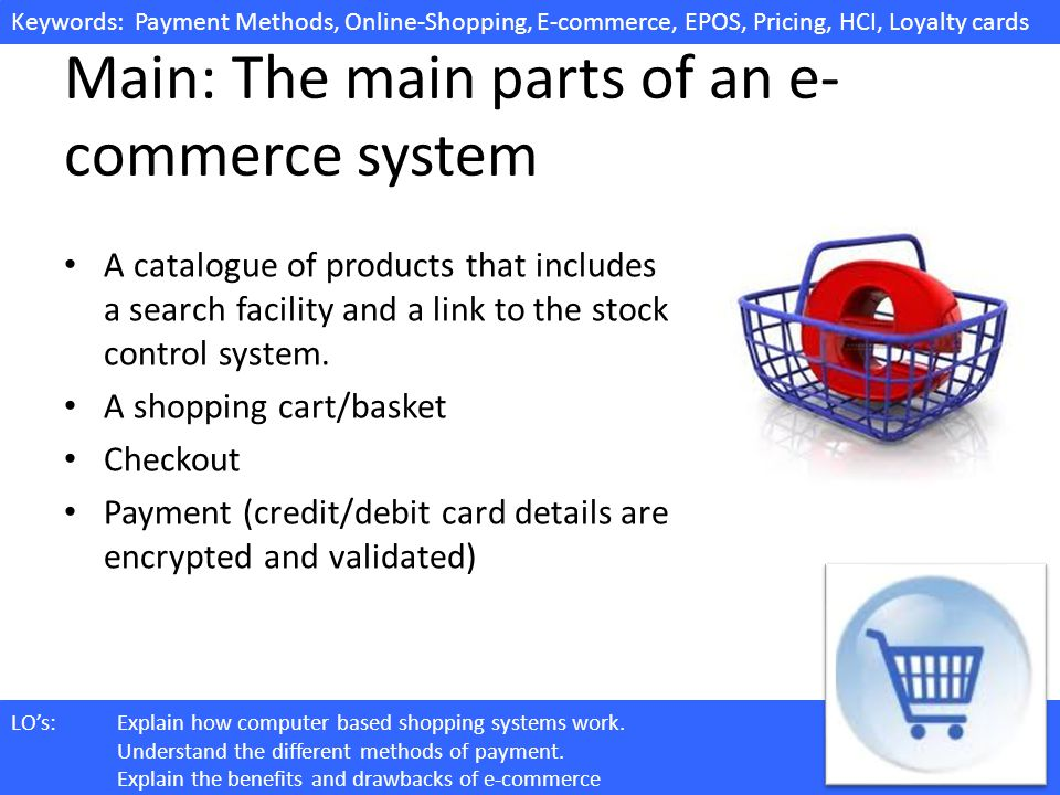 Keywords: Payment Methods, Online-Shopping, E-commerce, EPOS, Pricing, HCI, Loyalty cards LOs:Explain how computer based shopping systems work. Unders