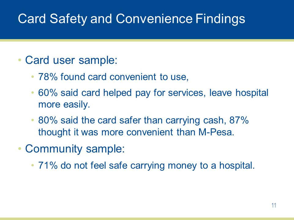 Card Safety and Convenience Findings Card user sample: 78% found card convenient to use, 60% said card helped pay for services, leave hospital more easily.
