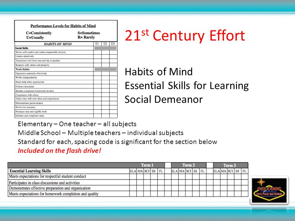 21 st Century Effort Habits of Mind Essential Skills for Learning Social Demeanor Elementary – One teacher – all subjects Middle School – Multiple teachers – individual subjects Standard for each, spacing code is significant for the section below Included on the flash drive!
