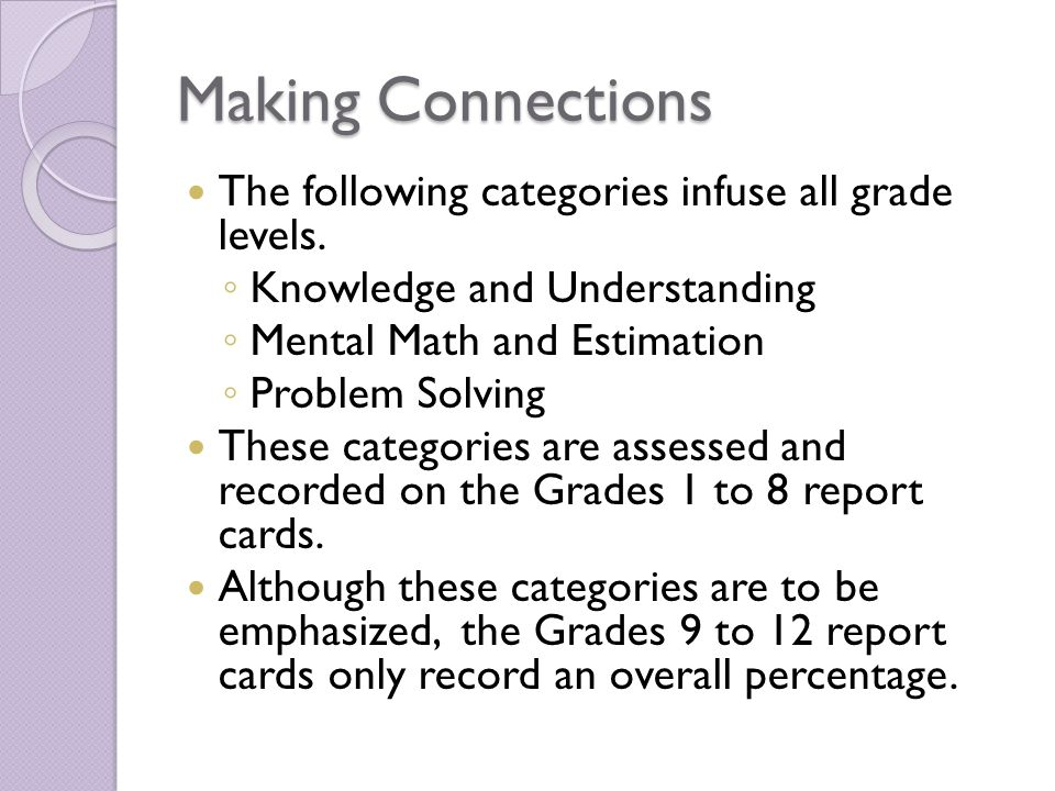Making Connections The following categories infuse all grade levels. Knowledge and Understanding Mental Math and Estimation Problem Solving These cate
