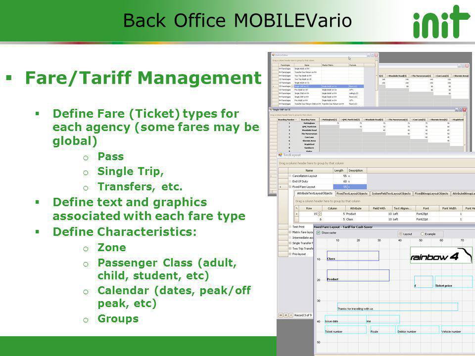 © 2012 Copyright INIT Inc Fare/Tariff Management Define Fare (Ticket) types for each agency (some fares may be global) o Pass o Single Trip, o Transfers, etc.