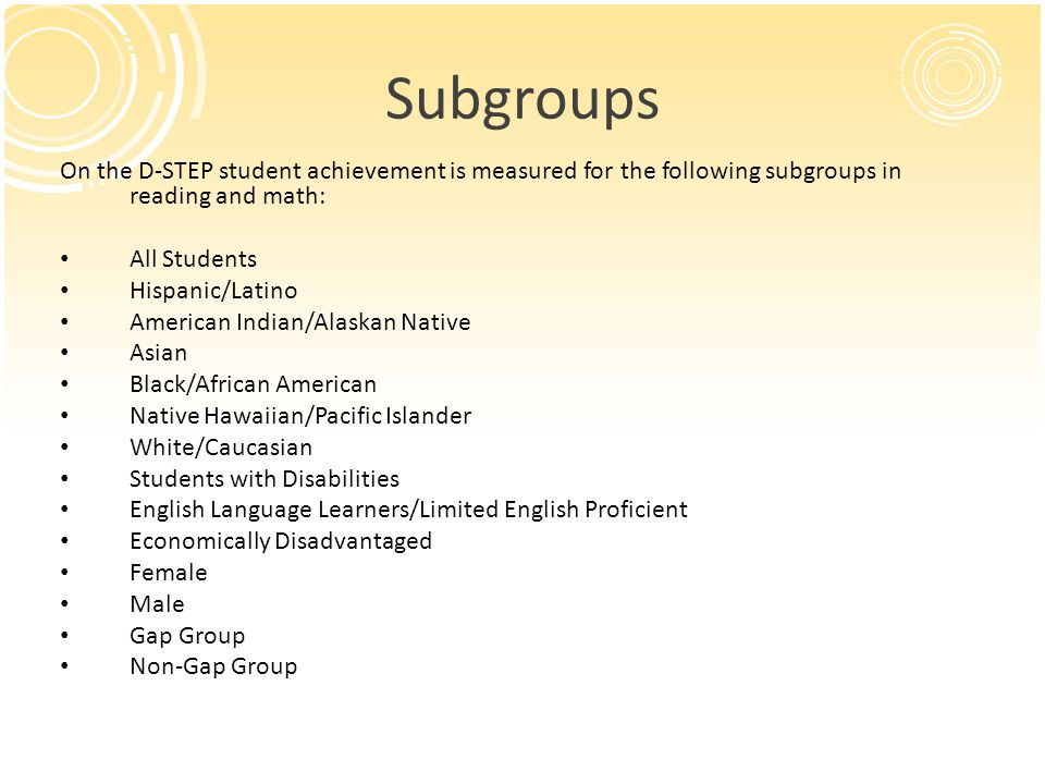 Subgroups On the D-STEP student achievement is measured for the following subgroups in reading and math: All Students Hispanic/Latino American Indian/Alaskan Native Asian Black/African American Native Hawaiian/Pacific Islander White/Caucasian Students with Disabilities English Language Learners/Limited English Proficient Economically Disadvantaged Female Male Gap Group Non-Gap Group