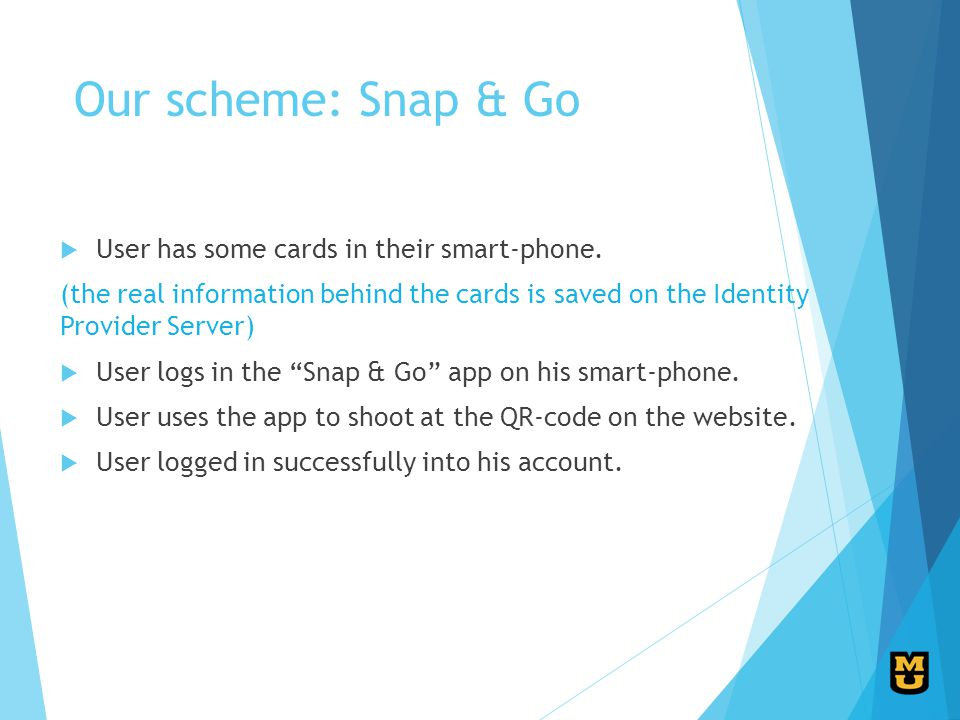 Our scheme: Snap & Go User has some cards in their smart-phone.
