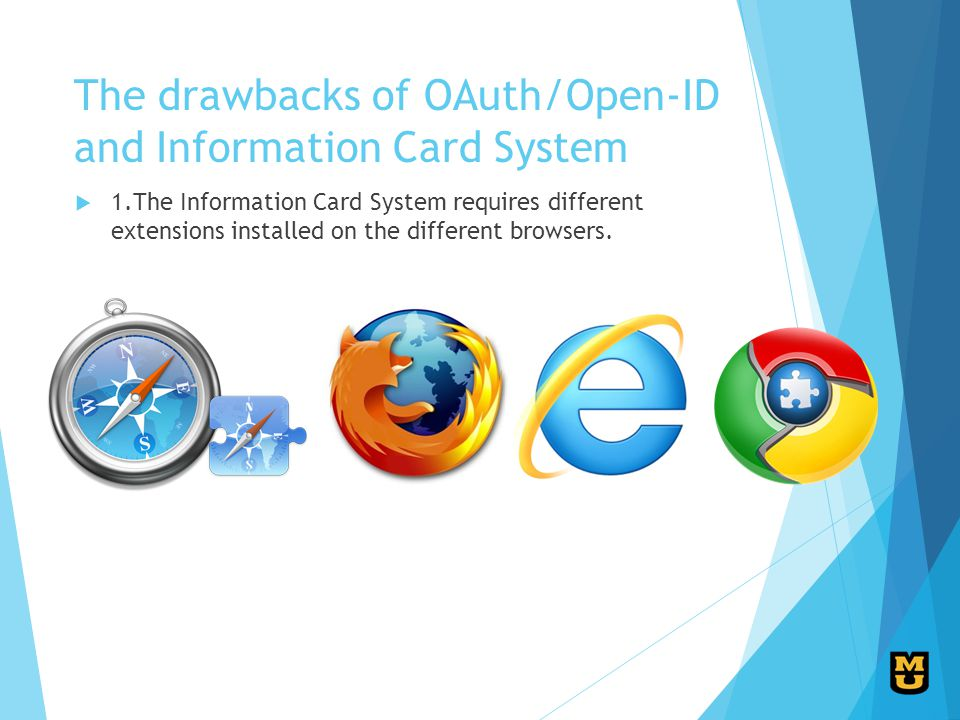 The drawbacks of OAuth/Open-ID and Information Card System 1.The Information Card System requires different extensions installed on the different browsers.