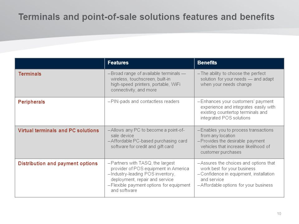 Terminals and point-of-sale solutions features and benefits 10 FeaturesBenefits Terminals –Broad range of available terminals wireless, touchscreen, b