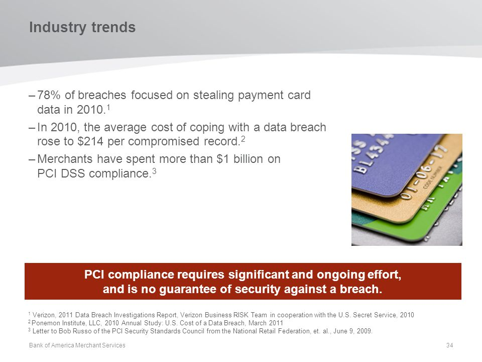 Industry trends –78% of breaches focused on stealing payment card data in 2010. 1 –In 2010, the average cost of coping with a data breach rose to $214