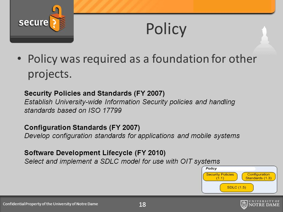 Confidential Property of the University of Notre Dame Policy Policy was required as a foundation for other projects. 18 Security Policies and Standard