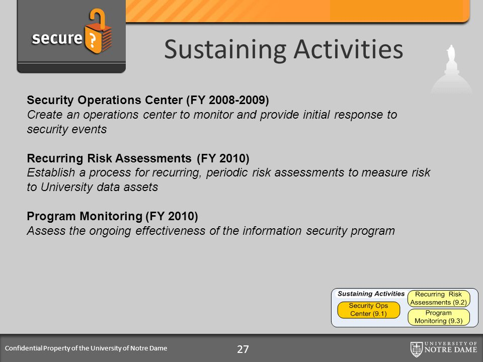 Confidential Property of the University of Notre Dame Sustaining Activities 27 Security Operations Center (FY 2008-2009) Create an operations center t