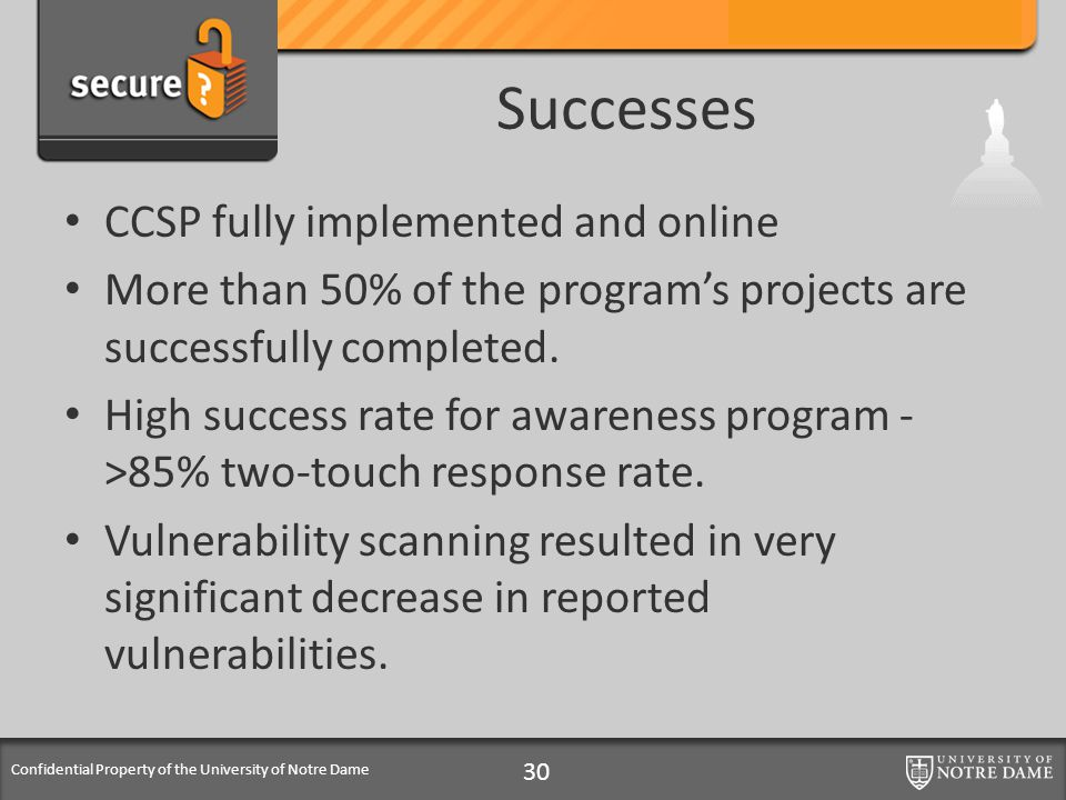 Confidential Property of the University of Notre Dame Successes CCSP fully implemented and online More than 50% of the programs projects are successfu