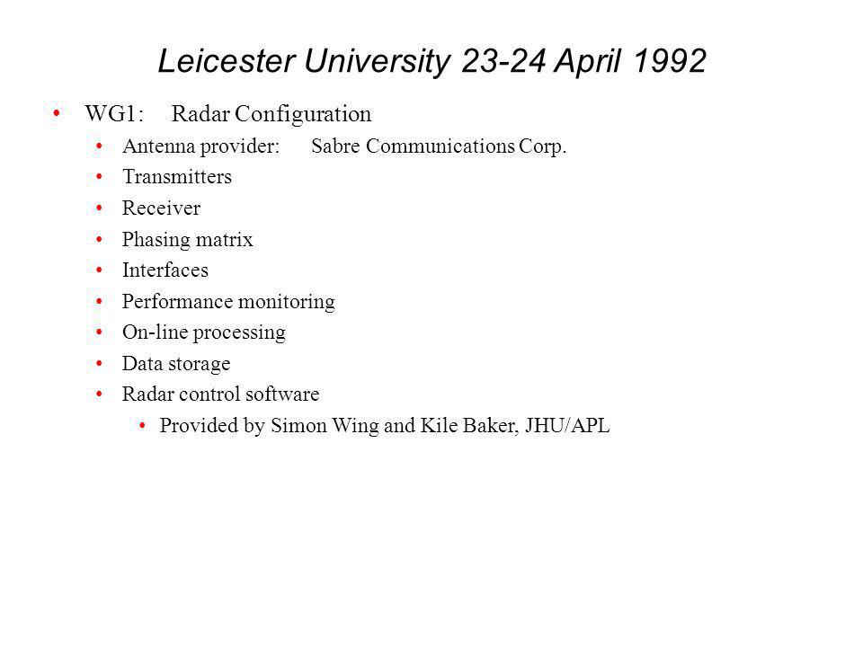 Leicester University 23-24 April 1992 WG1:Radar Configuration Antenna provider:Sabre Communications Corp.