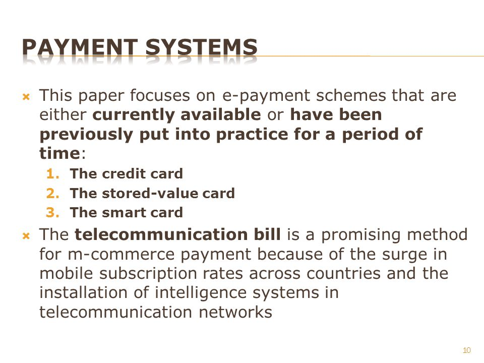 This paper focuses on e-payment schemes that are either currently available or have been previously put into practice for a period of time: 1.The cred