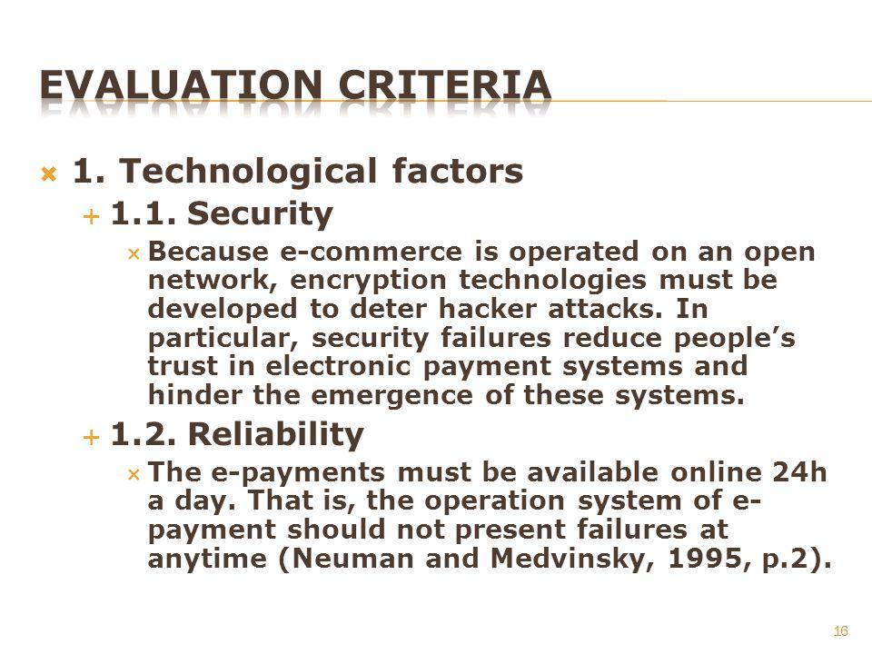 1. Technological factors 1.1.