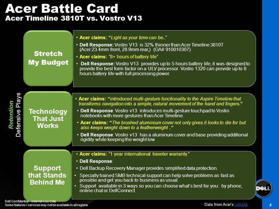 Acer Battle Card Acer Timeline 3810T vs. Vostro V13 4 Retention Defensive Plays Acer claims: 1 year international traveler warranty. Dell Response: De
