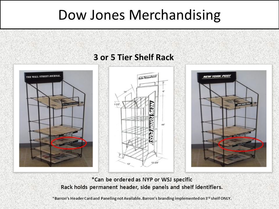 Dow Jones Merchandising 3 or 5 Tier Shelf Rack *Can be ordered as NYP or WSJ specific Rack holds permanent header, side panels and shelf identifiers.
