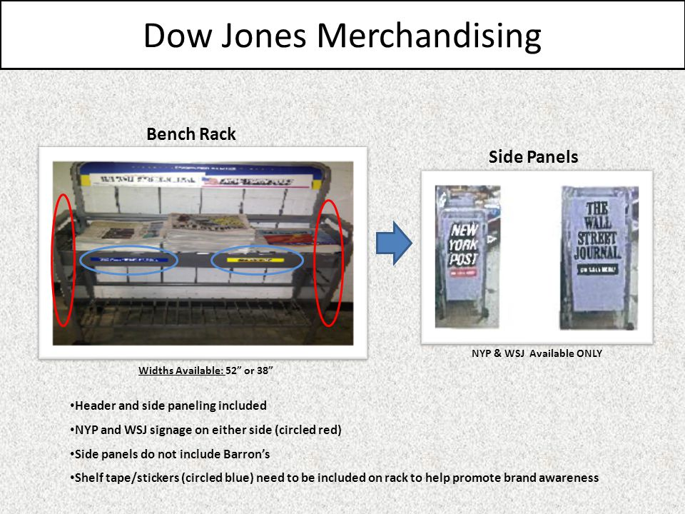 Dow Jones Merchandising Bench Rack Header and side paneling included NYP and WSJ signage on either side (circled red) Side panels do not include Barrons Shelf tape/stickers (circled blue) need to be included on rack to help promote brand awareness Side Panels Widths Available: 52 or 38 NYP & WSJ Available ONLY