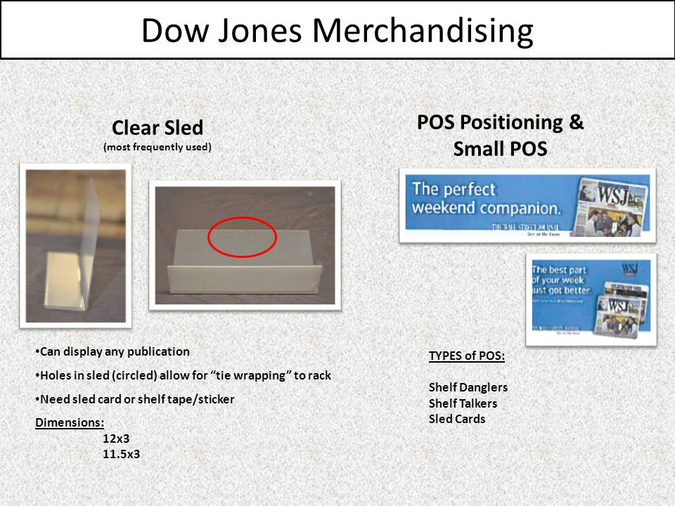 Dow Jones Merchandising TYPES of POS: Shelf Danglers Shelf Talkers Sled Cards POS Positioning & Small POS Clear Sled (most frequently used) Can display any publication Holes in sled (circled) allow for tie wrapping to rack Need sled card or shelf tape/sticker Dimensions: 12x3 11.5x3
