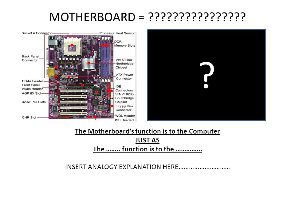MOTHERBOARD = ???????????????? The Motherboards function is to the Computer JUST AS The …….. function is to the …………... INSERT ANALOGY EXPLANATION HER