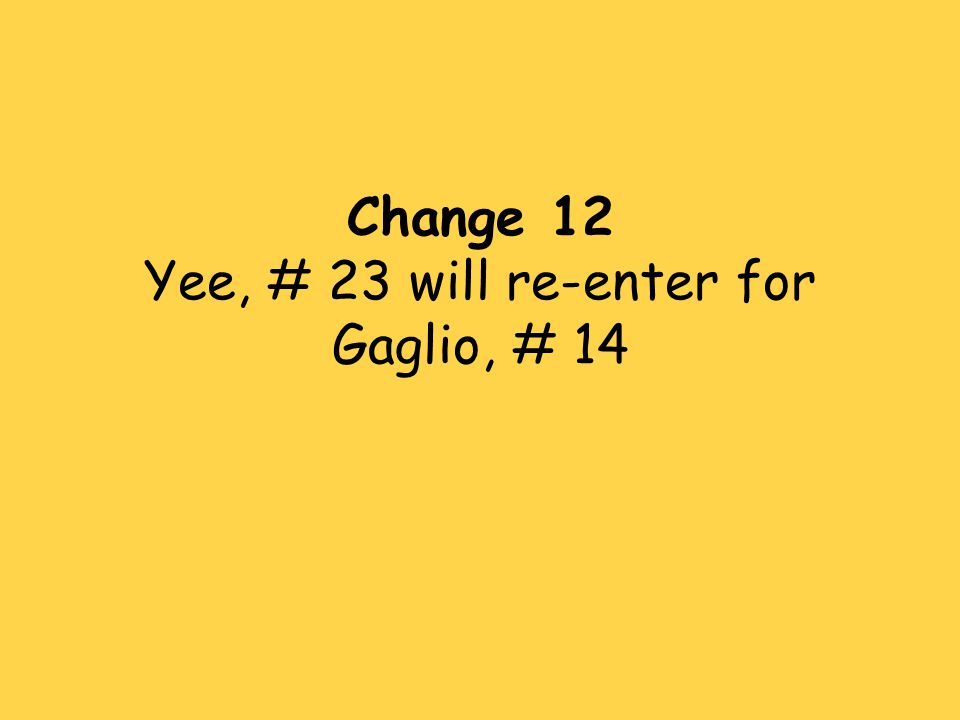 Change 12 Yee, # 23 will re-enter for Gaglio, # 14