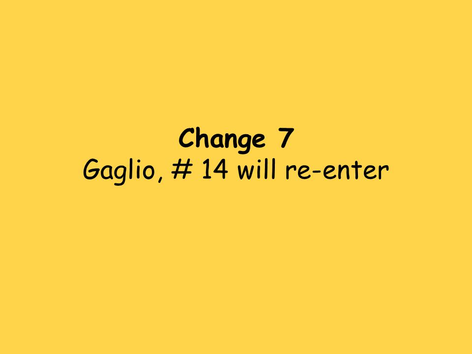 Change 7 Gaglio, # 14 will re-enter