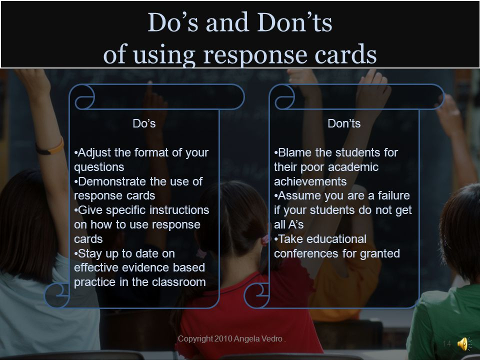 Steps for implementing response cards in your classroom As the teacher, you should adjust your questions to work with response cards.
