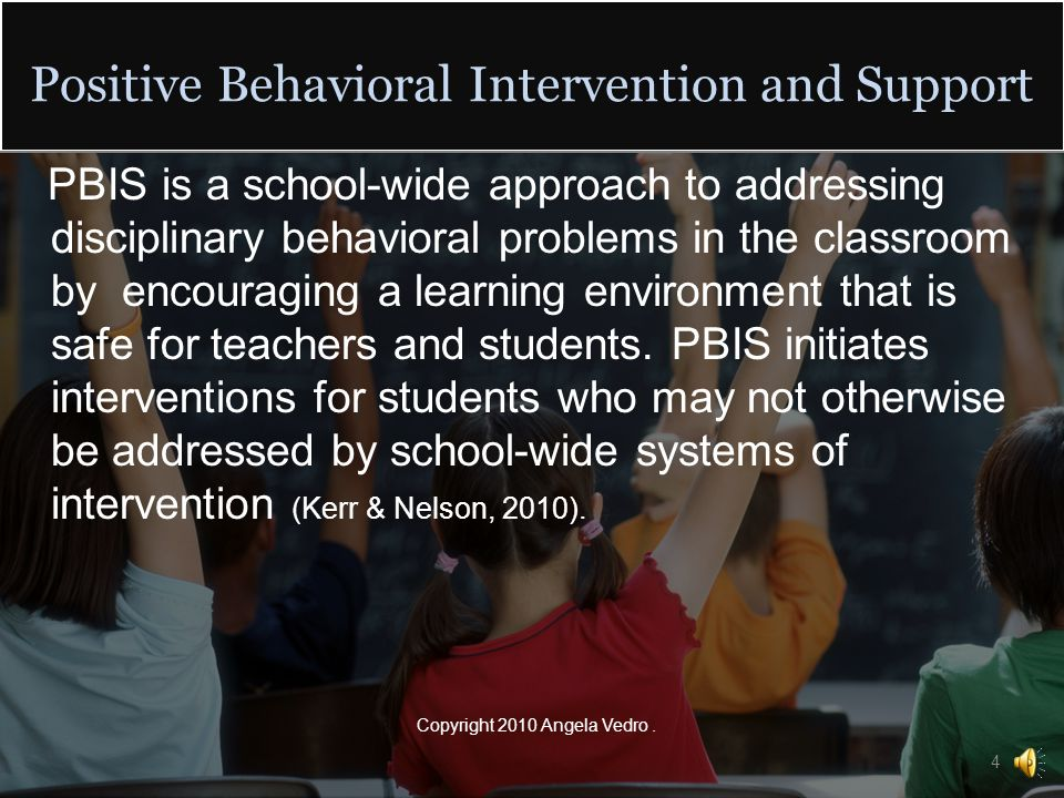 Welcome to this presentation on response cards This presentation will introduce you to a method of positive behavioral intervention and support (PBIS) This presentation will inform you of the who, what, when, where, and why of using response cards Copyright 2010 Angela Vedro.