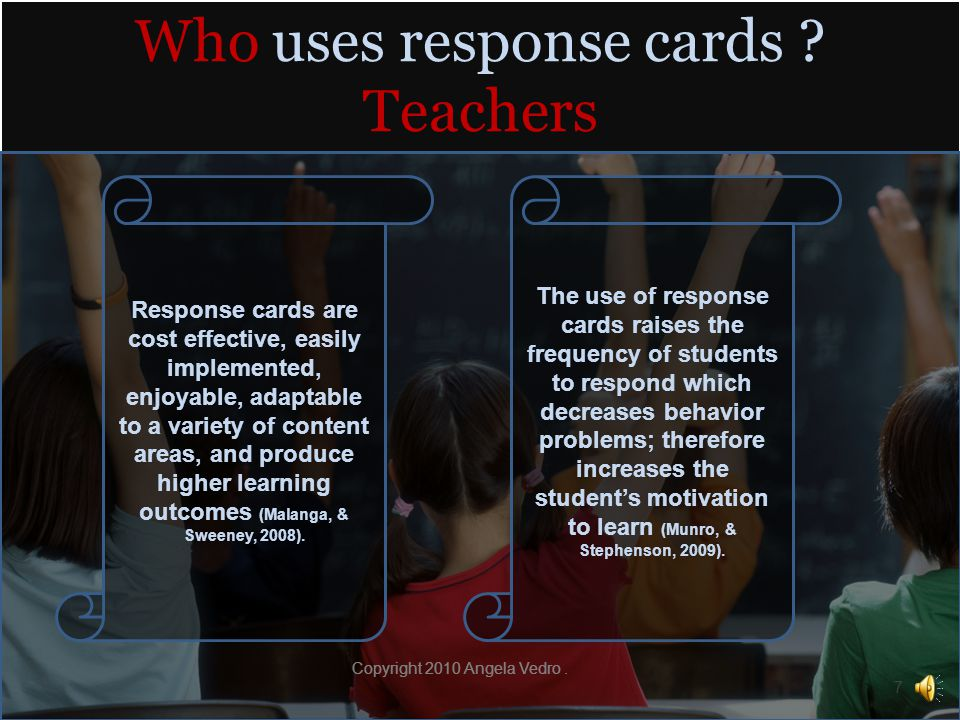 Glossary Continued Preprinted response cards: Cards given to students with answers printed on the individual cards.