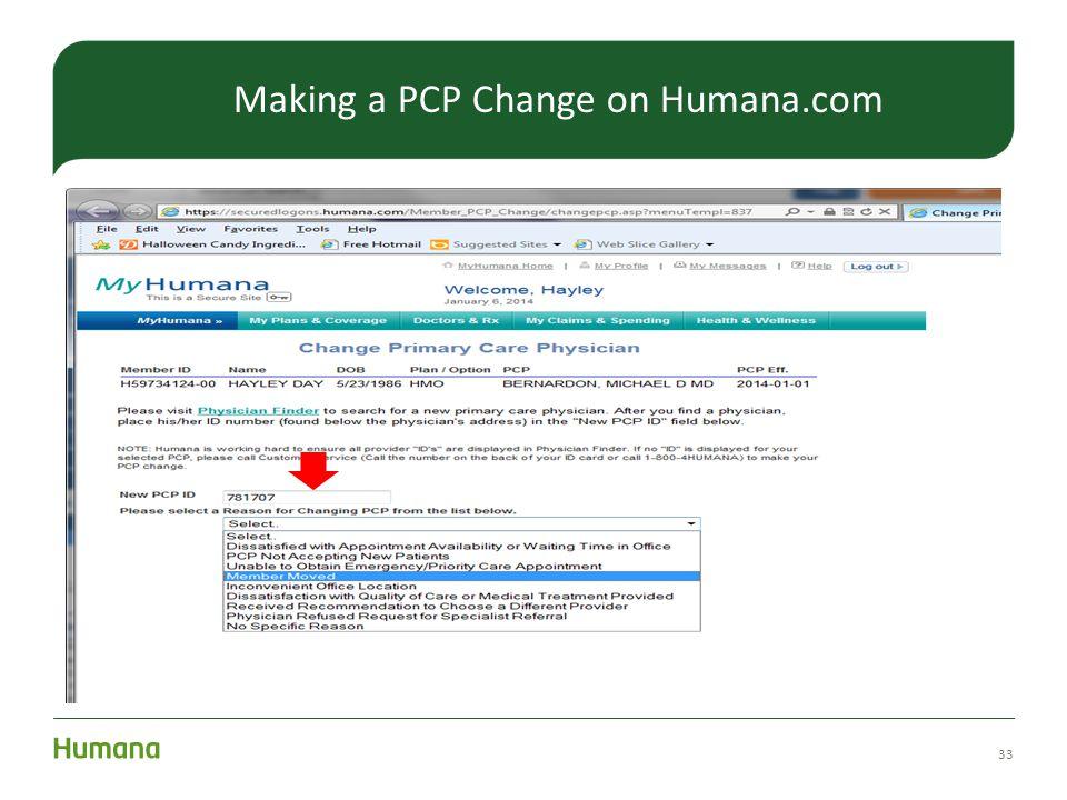 33 Making a PCP Change on Humana.com