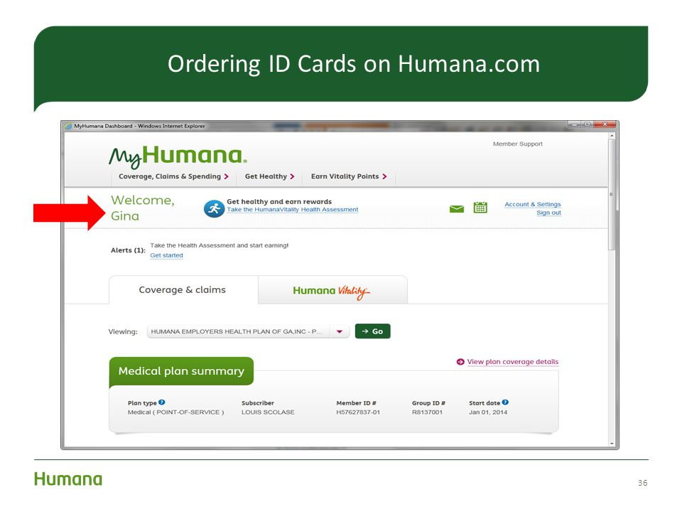 36 Ordering ID Cards on Humana.com