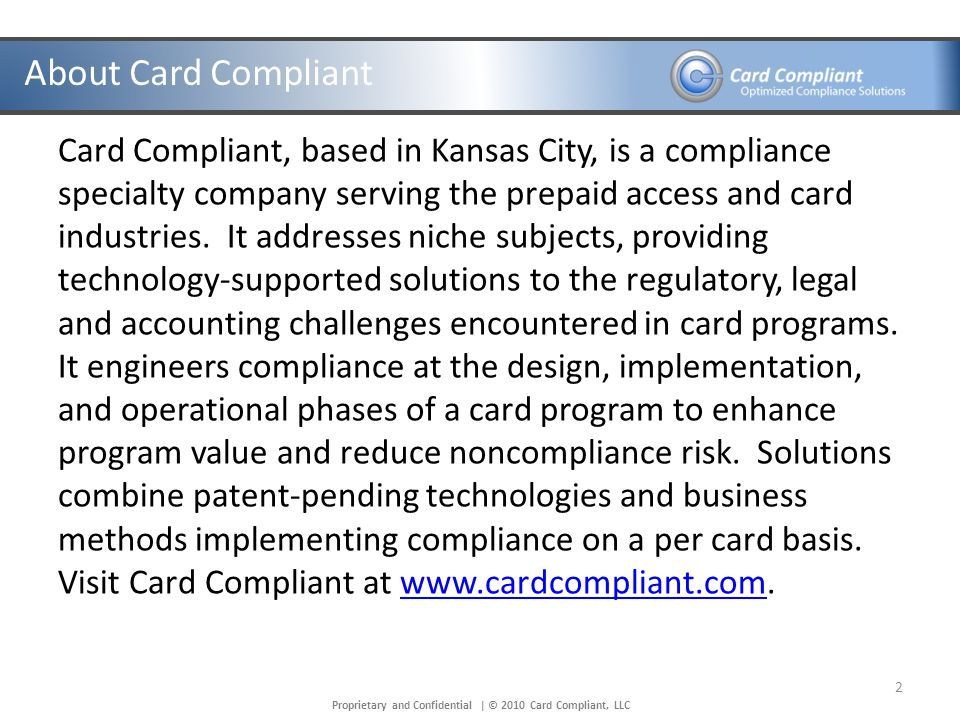 Proprietary and Confidential   © 2010 Card Compliant, LLC Introductions Overview Questions 3