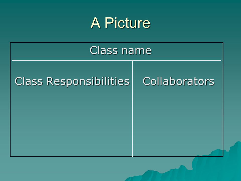 A Picture Class name Class Responsibilities Collaborators