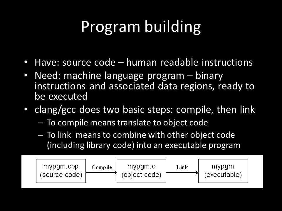 Program building Have: source code – human readable instructions Need: machine language program – binary instructions and associated data regions, ready to be executed clang/gcc does two basic steps: compile, then link – To compile means translate to object code – To link means to combine with other object code (including library code) into an executable program