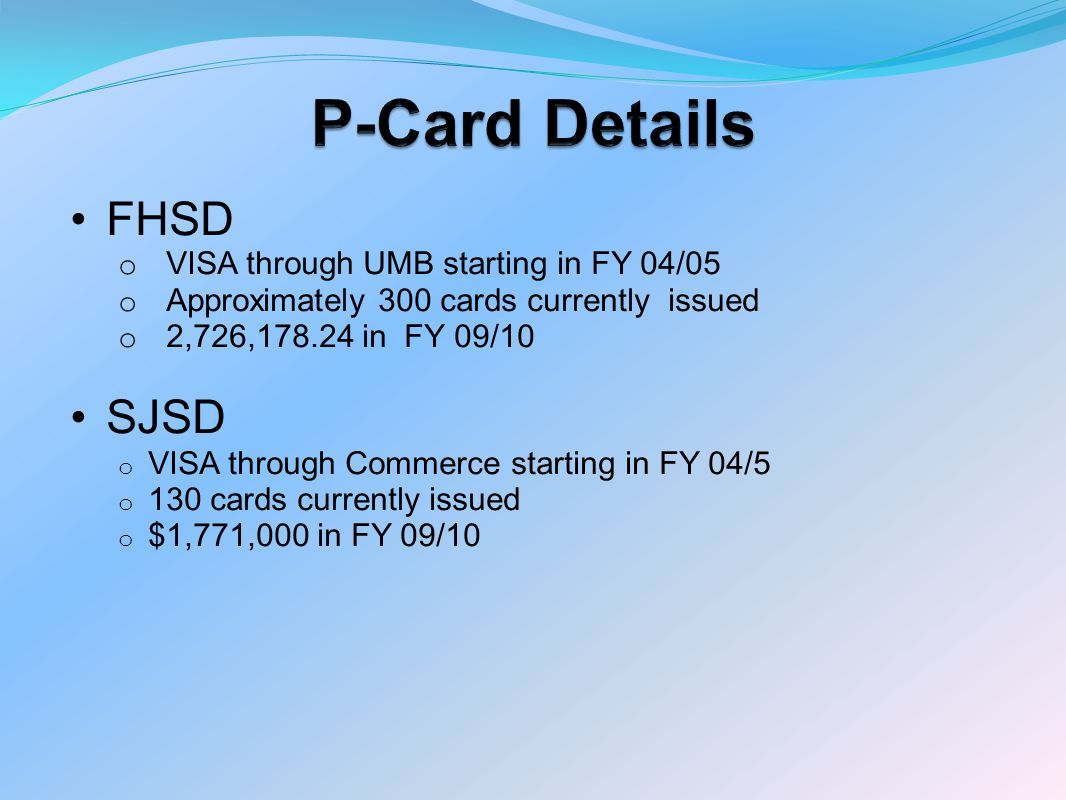 P-Card Details MVR3 o VISA through UMB starting in FY 04/05 o 92 cards currently issued o $2,621,000 in FY 09/10 o NWRI o MasterCard through Harris Bank/PFM starting in FY 04/05 o 40 cards currently issued o $1,864,000 in FY