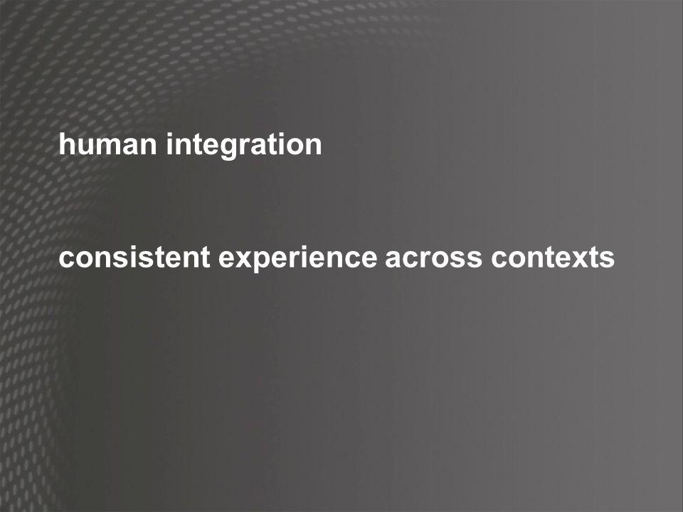 human integration consistent experience across contexts
