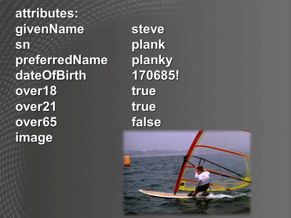 attributes:givenNamesn preferredNameplanky dateOfBirth170685! over18true over21true over65false imagesteveplank
