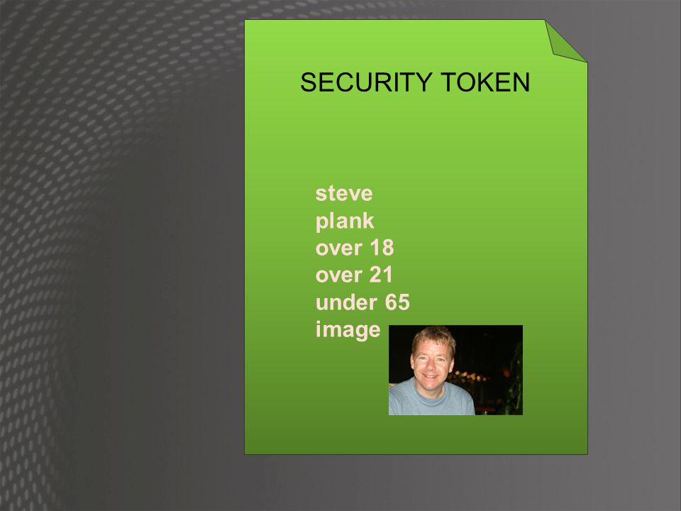 security token service give it something SECURITY TOKEN Steve Plank Over 18 Over 21 Under 65 image DIFFERENT SECURITY TOKEN Username Password Biometric Signature Certificate Secret