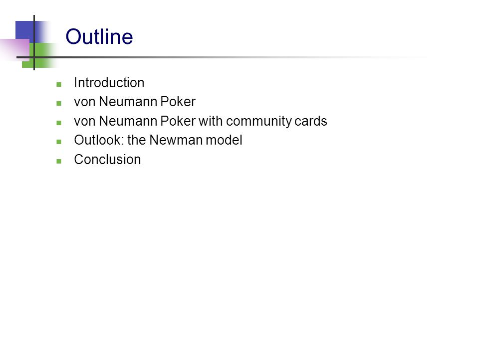 Research on poker The game of poker has been studied from many different perspectives: game-theory [this talk] artifical intelligence (heuristics) machine learning (opponent modeling) behavioural psychology etc.