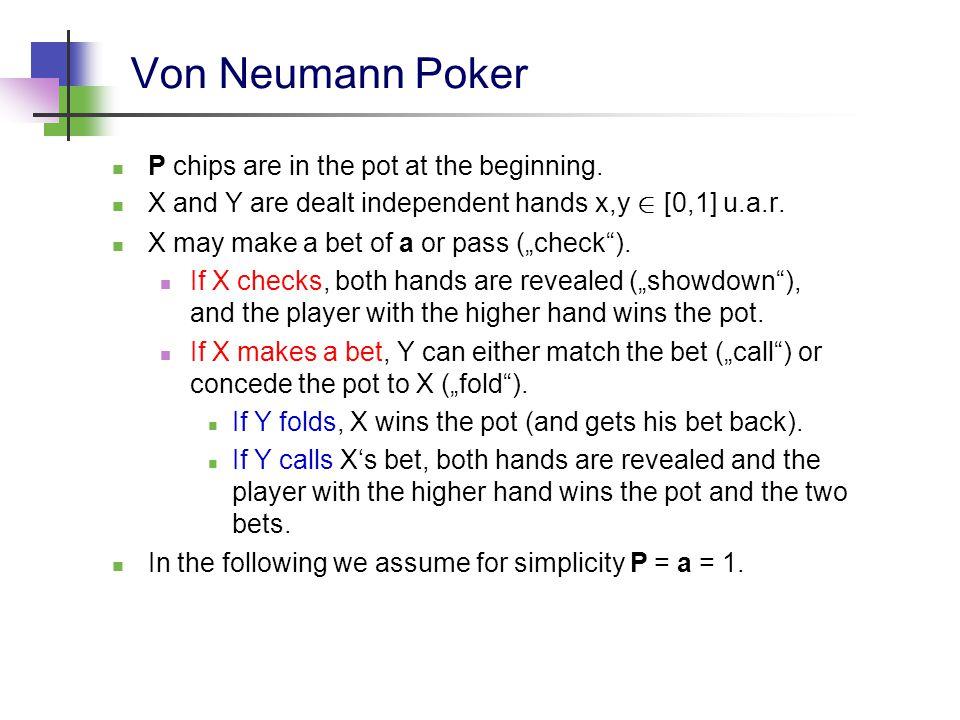 Von Neumann Poker It seems that X has an advantage, since Y can only react.