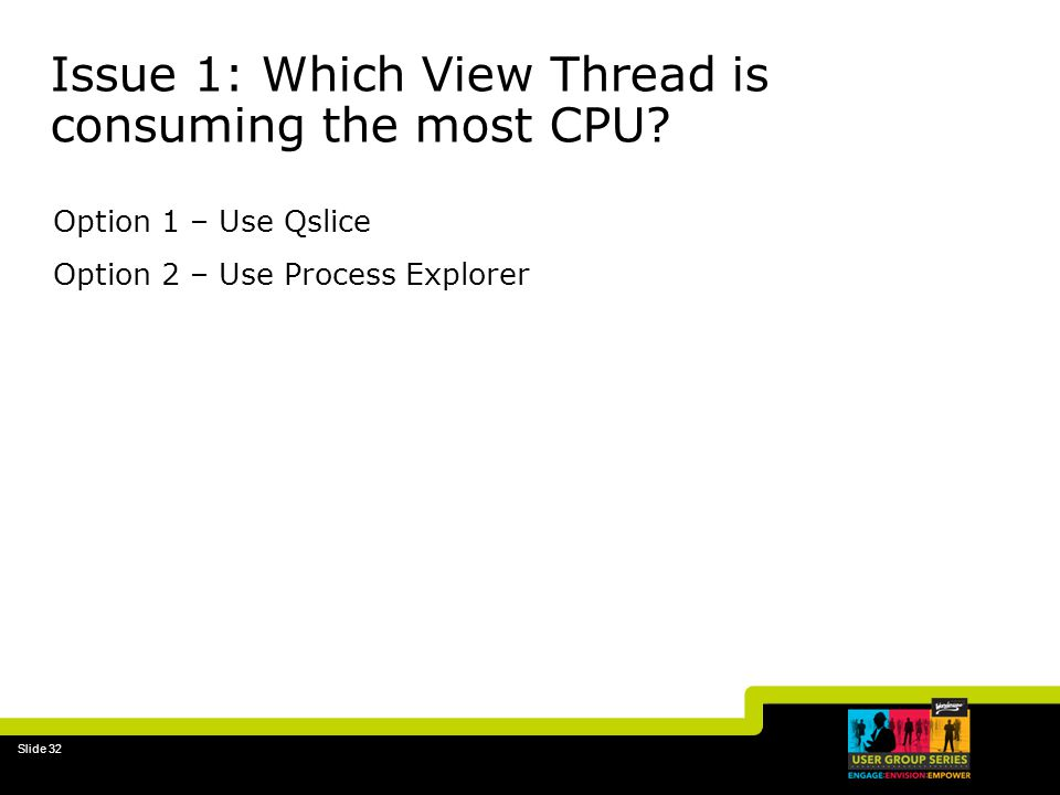 Slide 32 Issue 1: Which View Thread is consuming the most CPU.