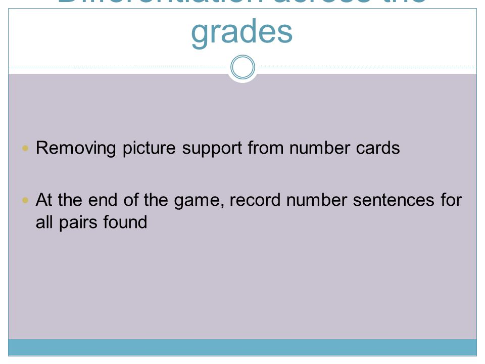 Differentiation across the grades Removing picture support from number cards At the end of the game, record number sentences for all pairs found